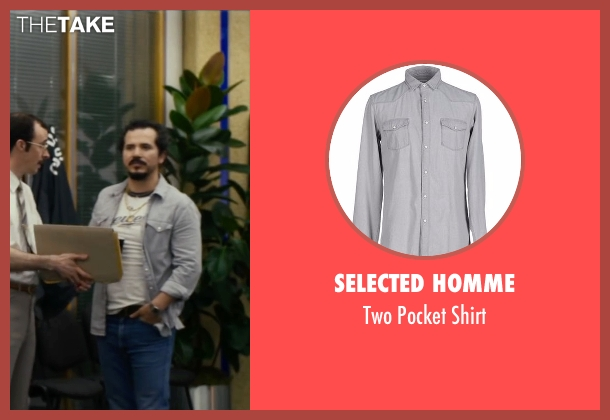Selected Homme gray shirt from The Infiltrator seen with John Leguizamo (Emir Abreu)