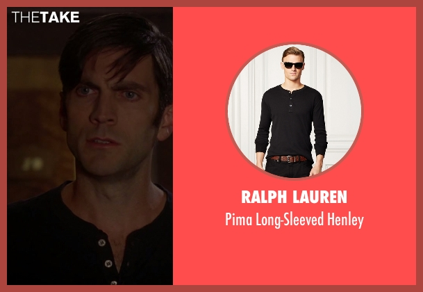 Ralph Lauren black henley from American Horror Story seen with John Lowe (Wes Bentley)