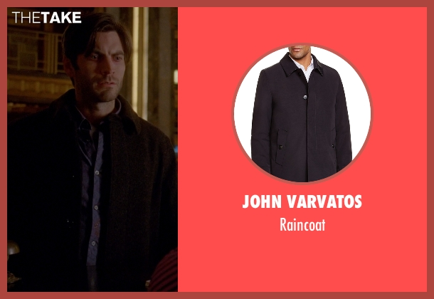 John Varvatos black raincoat from American Horror Story seen with John Lowe (Wes Bentley)