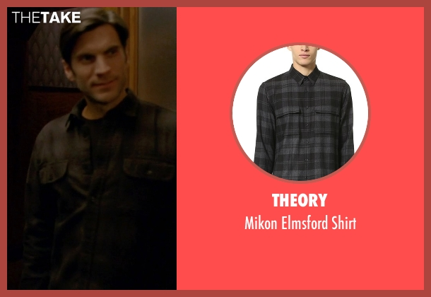 Theory black shirt from American Horror Story seen with John Lowe (Wes Bentley)
