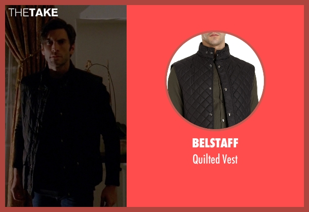 Belstaff black vest from American Horror Story seen with John Lowe (Wes Bentley)