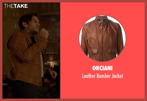 Orciani brown jacket from American Horror Story seen with John Lowe (Wes Bentley)