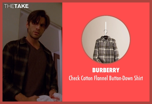 Burberry brown shirt from American Horror Story seen with John Lowe (Wes Bentley)