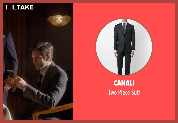Canali gray suit from American Horror Story seen with John Lowe (Wes Bentley)