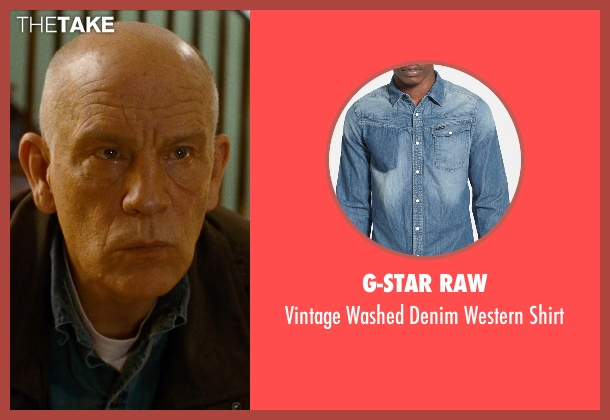 G-Star Raw blue shirt from Cut Bank seen with John Malkovich (Sheriff Vogel)