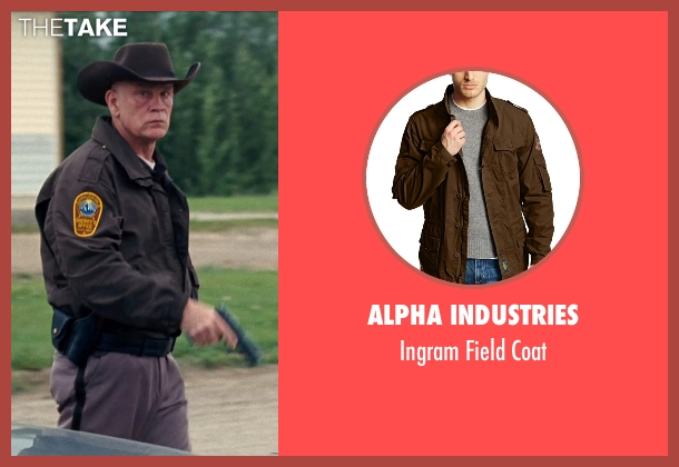 Alpha Industries brown coat from Cut Bank seen with John Malkovich (Sheriff Vogel)