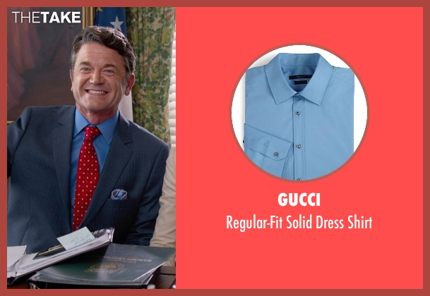 Gucci blue shirt from Pitch Perfect 2 seen with John Michael Higgins (John)