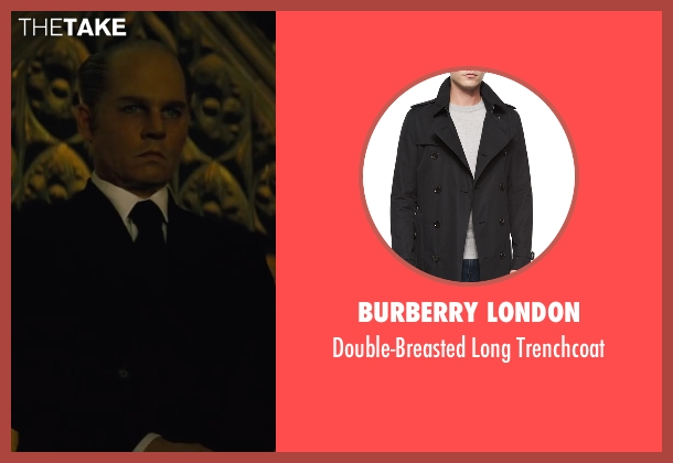 Burberry London	 black trenchcoat from Black Mass seen with Johnny Depp (Whitey Bulger)
