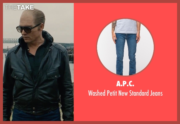 A.P.C. blue jeans from Black Mass seen with Johnny Depp (Whitey Bulger)