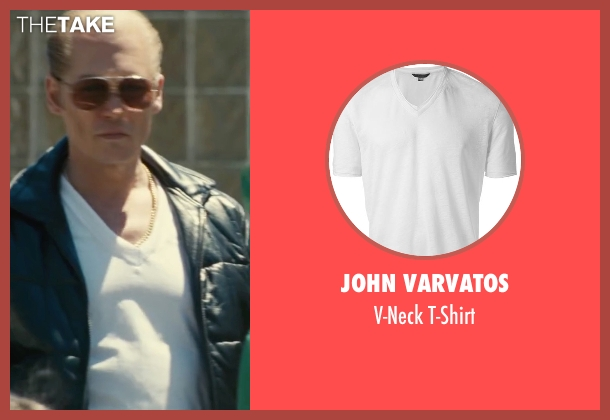 John Varvatos white t-shirt from Black Mass seen with Johnny Depp (Whitey Bulger)