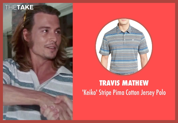 Travis Mathew blue polo from Blow seen with Johnny Depp (George Jung)