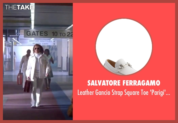 Salvatore Ferragamo white loafers from Blow seen with Johnny Depp (George Jung)