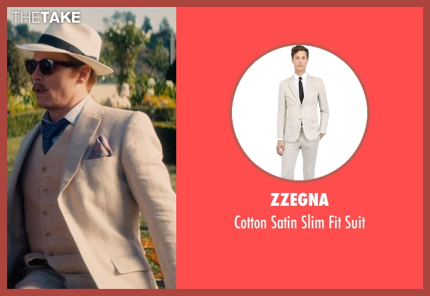 Zzegna beige suit from Mortdecai seen with Johnny Depp (Charles Mortdecai)
