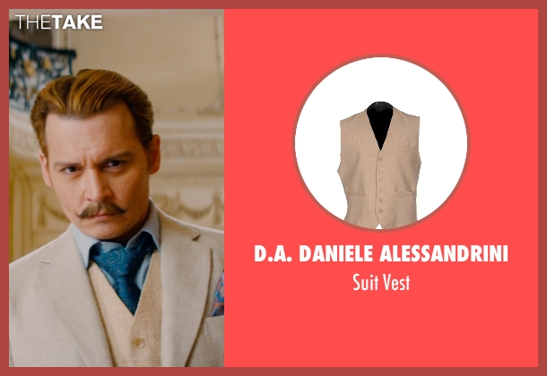 D.A. Daniele Alessandrini beige vest from Mortdecai seen with Johnny Depp (Charles Mortdecai)