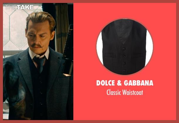 Dolce & Gabbana black waistcoat from Mortdecai seen with Johnny Depp (Charles Mortdecai)