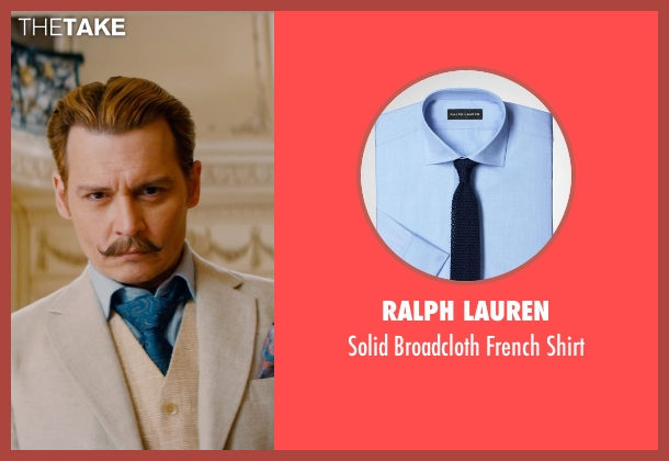 Ralph Lauren blue shirt from Mortdecai seen with Johnny Depp (Charles Mortdecai)
