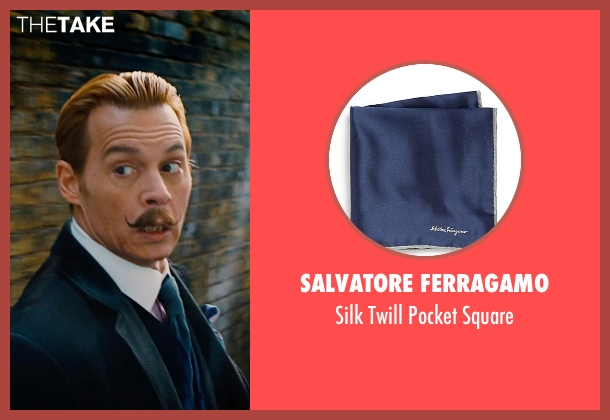 Salvatore Ferragamo blue square from Mortdecai seen with Johnny Depp (Charles Mortdecai)