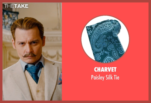 Charvet blue tie from Mortdecai seen with Johnny Depp (Charles Mortdecai)