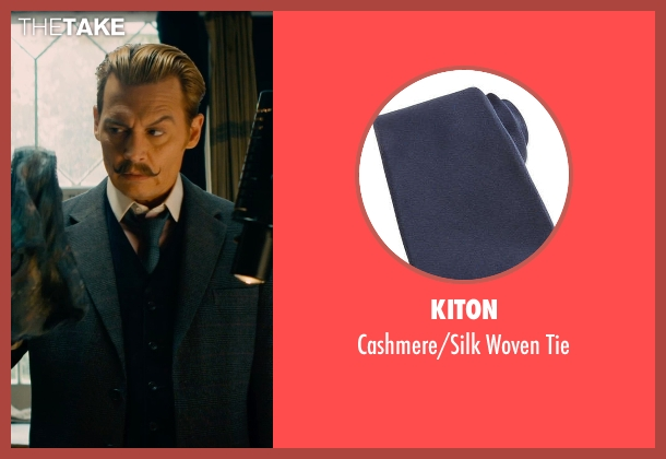 Kiton blue tie from Mortdecai seen with Johnny Depp (Charles Mortdecai)