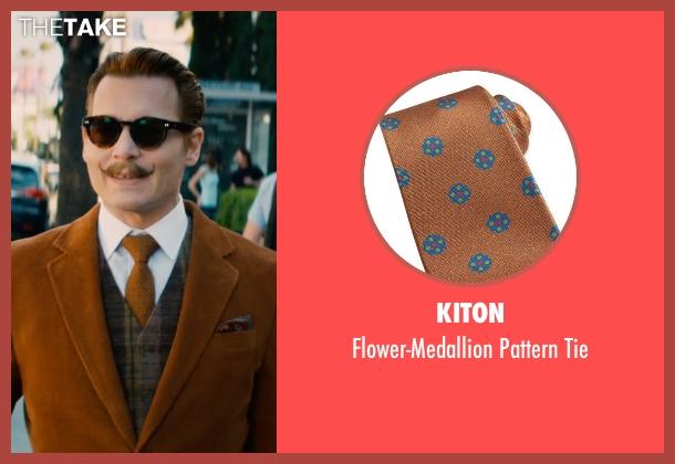 Kiton brown tie from Mortdecai seen with Johnny Depp (Charles Mortdecai)