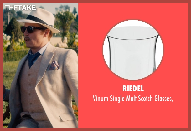 Riedel glasses, from Mortdecai seen with Johnny Depp (Charles Mortdecai)