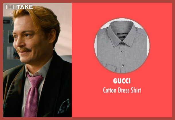 Gucci gray shirt from Mortdecai seen with Johnny Depp (Charles Mortdecai)