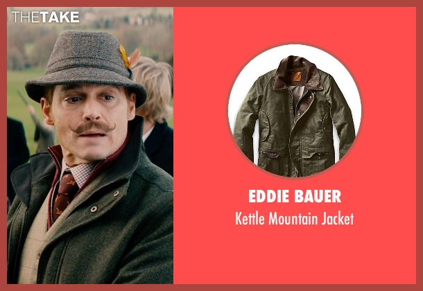 Eddie Bauer green jacket from Mortdecai seen with Johnny Depp (Charles Mortdecai)