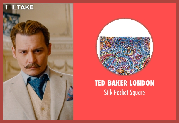 Ted Baker London orange square from Mortdecai seen with Johnny Depp (Charles Mortdecai)