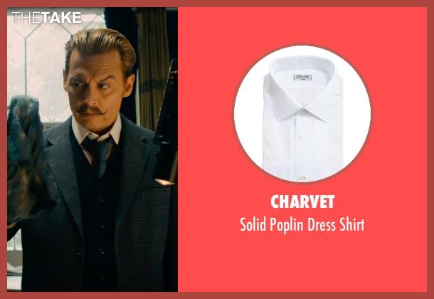Charvet white shirt from Mortdecai seen with Johnny Depp (Charles Mortdecai)