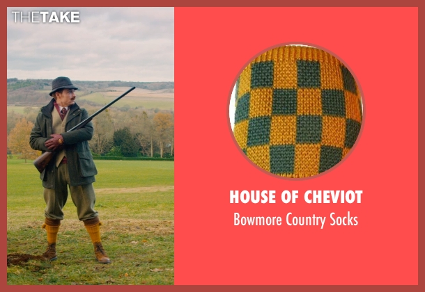 House of Cheviot yellow socks from Mortdecai seen with Johnny Depp (Charles Mortdecai)