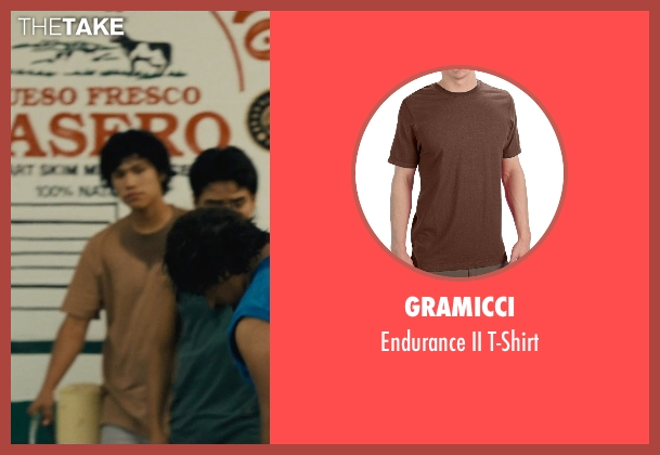 Gramicci brown t-shirt from McFarland, USA seen with Johnny Ortiz (Jose Cardenas)