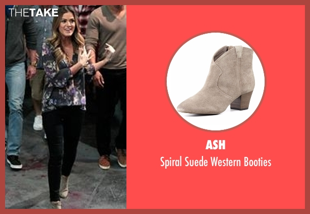 Ash beige booties from The Bachelorette seen with JoJo Fletcher