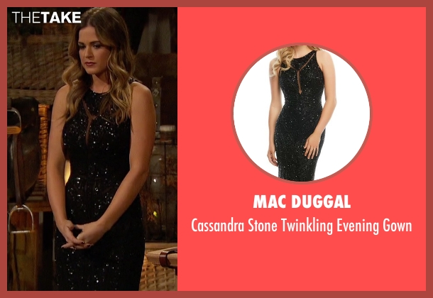 Mac Duggal black gown from The Bachelorette seen with JoJo Fletcher
