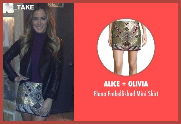 Alice + Olivia gold skirt from The Bachelorette seen with JoJo Fletcher