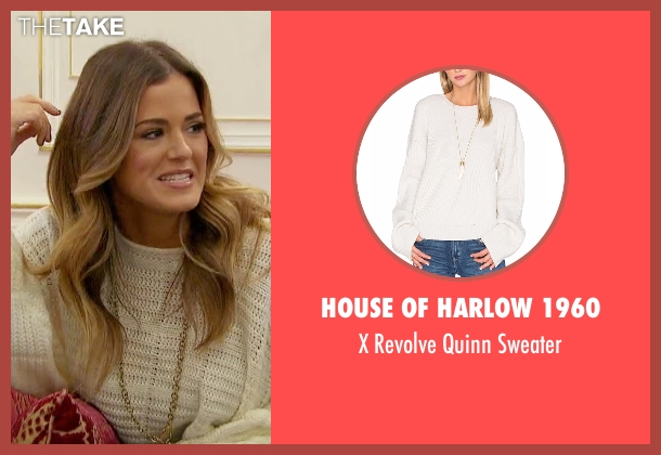 House of Harlow 1960 white sweater from The Bachelorette seen with JoJo Fletcher