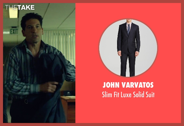 John Varvatos blue suit from We Are Your Friends seen with Jon Bernthal (Paige)