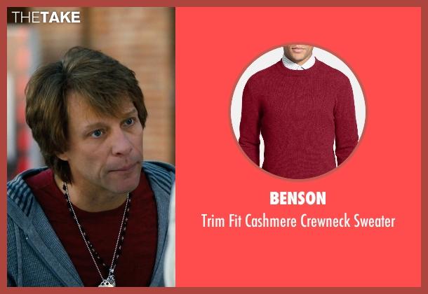 Benson red sweater from New Year's Eve seen with Jon Bon Jovi (Jensen)