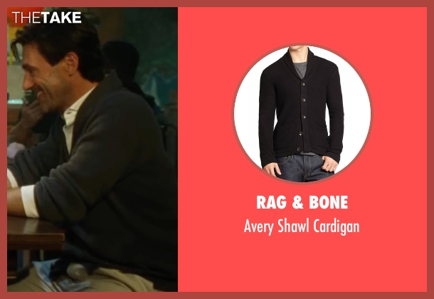 Rag & Bone black cardigan from Keeping Up with the Joneses seen with Jon Hamm (Tim Jones)