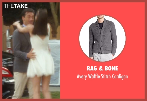 Rag & Bone gray cardigan from Keeping Up with the Joneses seen with Jon Hamm (Tim Jones)