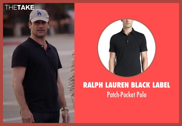 Ralph Lauren Black Label black polo from Million Dollar Arm seen with Jon Hamm (J.B. Bernstein)