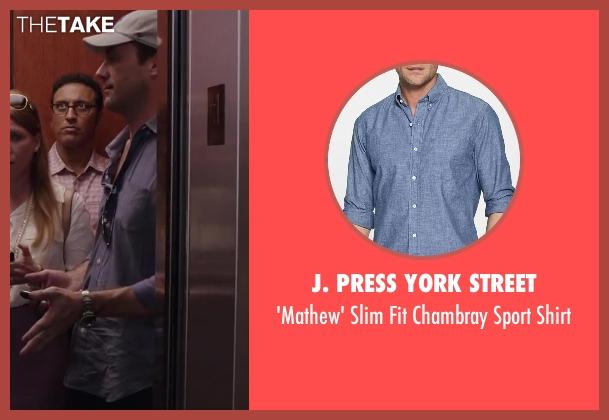 J. Press York Street blue shirt from Million Dollar Arm seen with Jon Hamm (J.B. Bernstein)