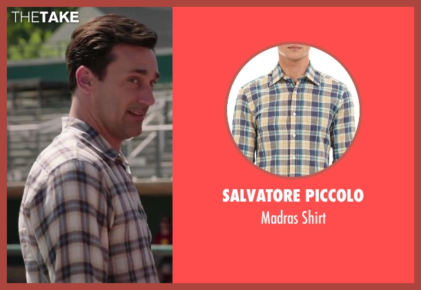 SALVATORE PICCOLO blue shirt from Million Dollar Arm seen with Jon Hamm (J.B. Bernstein)