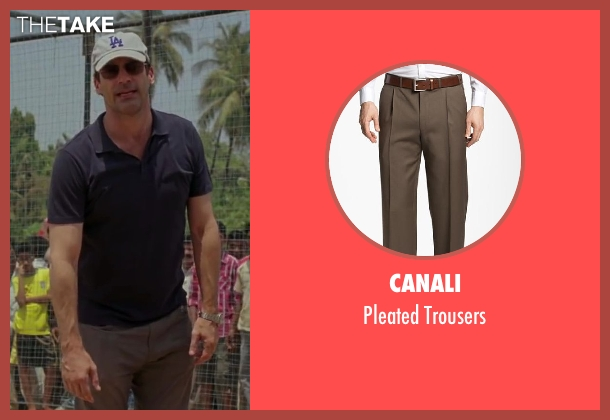 Canali brown trousers from Million Dollar Arm seen with Jon Hamm (J.B. Bernstein)