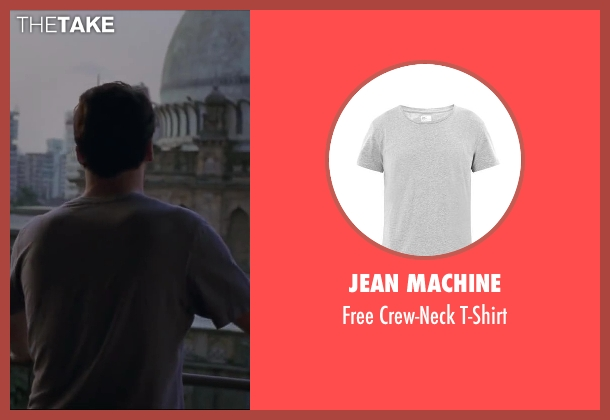 JEAN MACHINE gray t-shirt from Million Dollar Arm seen with Jon Hamm (J.B. Bernstein)