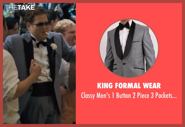 King Formal Wear gray tuxedo from The Wolf of Wall Street seen with Jonah Hill (Donnie Azoff)