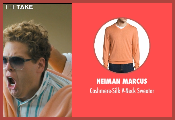 Neiman Marcus orange sweater from The Wolf of Wall Street seen with Jonah Hill (Donnie Azoff)