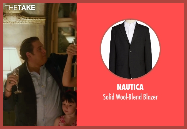 Nautica black blazer from War Dogs seen with Jonah Hill (Efraim Diveroli)