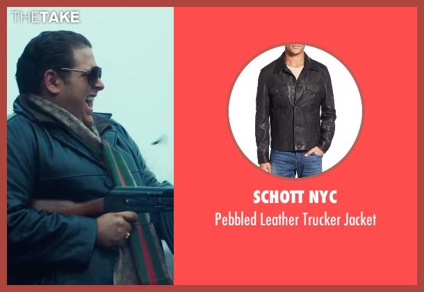 Schott NYC black jacket from War Dogs seen with Jonah Hill (Efraim Diveroli)