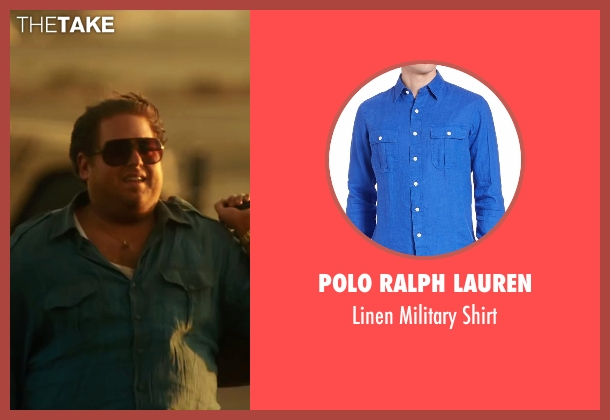 Polo Ralph Lauren blue shirt from War Dogs seen with Jonah Hill (Efraim Diveroli)