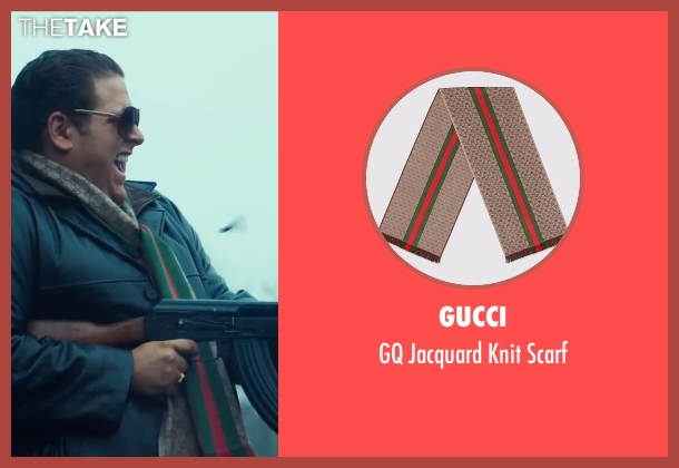 Gucci brown scarf from War Dogs seen with Jonah Hill (Efraim Diveroli)